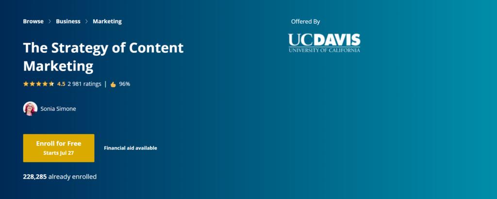 khóa học content marketing online của soursera là lựa chọn lý tưởng của nhiều marketer